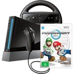 Dick Smith Wii Console - Black + Mario Kart & Wheel $149 Free Delivery