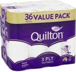 Quilton 3 Ply Toilet Tissue (180 Sheets Per Roll, 11x10cm), Pack of 36 $14 @ Woolworths