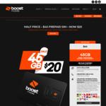 Boost Prepaid SIM $20 (Was $40) | 28 Days Expiry | 44GB Data | Unltd Talk & Text | Unltd International Mins to 25 Countries