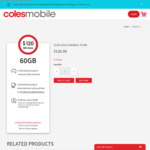 Coles Mobile - 365 Days, 60GB Data, Optus, Unlimited Int'L Talk/Text to 15 Countries, Rollover <50GB $99 (Was $120) @ Coles