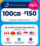 Lebara $150 360 Day Extra Small Plan Prepaid Voucher for $130 (3GB / 30D + 64GB Data Bank/ Unl Talk/Txt) @ DeAmazingOnline