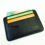 Slim Saffiano Black Leather Card Wallet-4 Card Plus Protected ID & Guitar Pick Holder - $14.95 Shipped @ The Totem