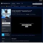 Star Wars Battlefront PS4 $39.95 @ PSN AU Store