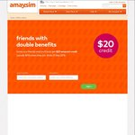 Amaysim Increase Refer a Friend Credit to $20 until 23/9/2016 (e.g. Buy $5 Starter Sim Pack, Get $25 to Use for 365 Days)