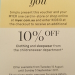 Additional 10% off Kids Clothing @ Myer