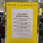 Buy 3 Clearance Items, Get 20%, Buy 4, Get 30% off, Buy 5, Get 40% off @ Myer