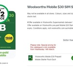 Woolworths Mobile $30 SIM Starter Pack $10 @ Woolworths