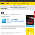 [Registrations Capped] AmEx: Jax Tyres - Spend $400, Get $100 Back - First 3,800 Cards (Participating Outlets Only)