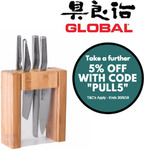 Global Teikoku 5 Piece Knife Block Set Japanese Knives $204.20 Free Postage @ Value Village eBay