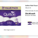 Quilton 3 Ply Softness Toilet Tissue 36 Pack $14 @ Coles
