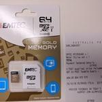 EMTEC 64GB MicroSDXC Gold Memory Card $9.99 @ Australia Post