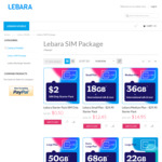 1/2 Price Selected 30 Day SIM - Eg 30 Day 50GB for $19.95 @ Lebara Mobile