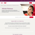 Westpac Altitude Platinum Rewards Credit Card: 60000 QFF or Altitude Points ($0 Annual Fee 1st Year, $50 Qantas Rewards Fee)