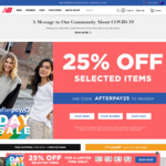 25% off Selected Items @ New Balance (Stack with 12% Cashrewards Cashback)