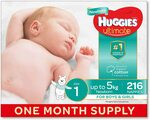 Huggies Ultimate Nappies, Size 1, Unisex - 216 Count $54 Delivered or $45.90 (with Subscribe & Save) @ Amazon AU