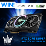 Win a  Galax RTX 2070 Super Hall of Fame 10th Anniversary Edition GPU from PC Case Gear