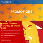 [VIC] Double Dollar on Sat 6/3: Spend $50 Get $100, Spend $100 Get $200 @ Timezone
