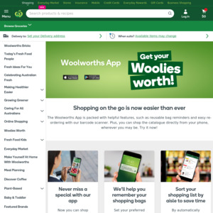 $10 off $100 Minimum App Purchase @ Woolworths (App Required)