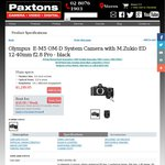 O-MD E-M5 + 12-40mm F2.8 Lens - $1250 @ Paxtons