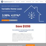 Freedom Lend - 3.98% Variable Loan and $1299 off Solicitor Conveyancing on New Purchase (Melb)