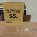 Box of Dick Smith Shopping Bags - $5 @ Dick Smith