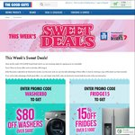 15% off Fridges (over $1000) & $80 off Washers (over $600) @ The Good Guys