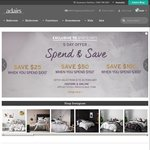 Spend $100 / $150 / $300, Get $25 / $50 / $100 off @ Adairs (Linen Lovers Membership Required)