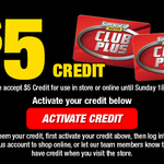 Free $5 Credit for Club Plus Members (In-store or Online Purchases) @ Supercheap Auto