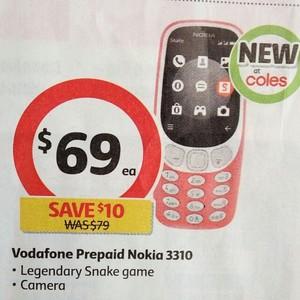 Nokia 3310 3G Dusty Pink Vodafone - $69 @ Coles - OzBargain