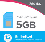 Lebara Medium Plan 360 Days – 5GB Data/Month + Unlimited Oz Talk/Text & Unlimited 12 Countries - $199