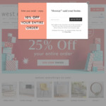 West Elm, Pottery Barn, Pottery Barn Kids, Williams Sonoma - 25% off Storewide on Full Priced Products