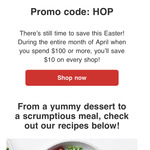 $10 off Minimum $100 Online Spend @ Coles