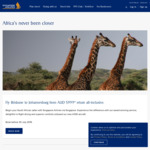 Brisbane to Johannesburg Return with Singapore Airlines from $999