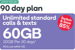 Kogan Mobile Prepaid Voucher Code: LARGE (90 Days | 20GB Per 30 Days) for $14.90