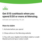 CommBank Rewards - $15 Cashback on $30+ Spend @ Menulog (Cashback and Spending Requirements May Vary)