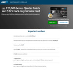 ANZ Frequent Flyer Black 120K Qantas Points + $275 Cashback after $4000 Spend ($425 Annual Fee)