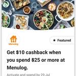 CommBank Rewards - $10 Cashback on $25+ Spend @ Menulog