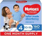 Huggies Ultra Dry Nappies 216/192/176/160/144 Pack Size 2/3/4/5 Boys & Girls $38.24 Delivered (S&S) @ Amazon AU