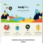 Feedly Pro Limited Liftetime Edition @ US $99 (Available Now for 5000 Users), or $5/Mth $45/Year