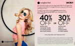 30-40% off Sunglass Hut (Excludes Chanel, Maui Jim and Tiffany & Co)