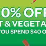 Woolworths 10% off Fruit & Veg (Min. $40 Spend)