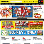 "JB Hi-Fi Boxing Day Deals: Sony 75"" TV $2596, Samsung 60"" TV $1996, 20% off Blu-Rays, DVDs, CDs + More"