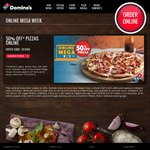 50% off Pizza: Domino's Online Mega Week (Excl. Value, Extra Value Range & SA)