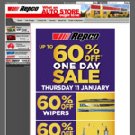 60% off Wipers, 60% off Jockey Wheels, 50% off Globes, 30% off Engine Oil, 30% off Coolant at Repco