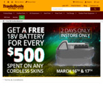 Get A Free 18V Battery When You Spend $500 on Cordless Tool Skins @ TradeTools (15 Stores)