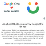 Free 6-12 Month Access to Google One for Local Guides @ Google