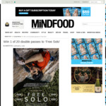 Win 1 of 20 Double Passes to 'Free Solo' Worth $42 from MiNDFOOD