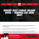Taronga Zoo Free Entry for Two Children with Full-Fee Paying Adult (Whopper or Hungry Jack's Kids Meal Purchase Required) (NSW)