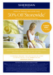 [NSW,VIC,QLD,WA,ACT] 50% off Storewide (Some Exclusions Apply) @ Sheridan