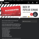 5 Movie Savers Tickets for $50 @ Event Cinemas/BCC (Selected Locations)